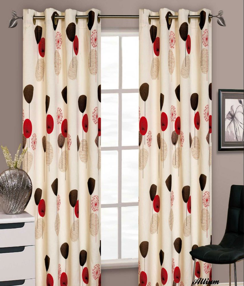 STYLISH FLORAL RING TOP EYELET LINED CURTAINS FAUX SILK RED & CREAM COLOUR